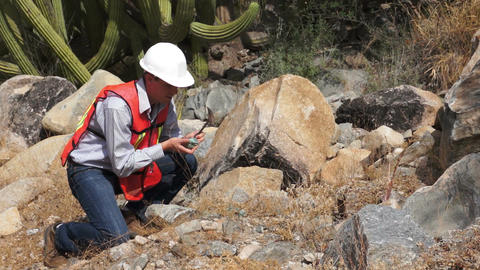 Geologist Man Rock Sample Footage