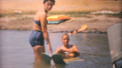 Family Water Skiing On Lake 1961 Vintage 8mm film Footage