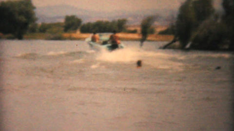 Family Water Skiing On Lake 1961 Vintage 8mm film Stock Video Footage