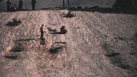 Kids Crashing While Sledding 1961 Vintage 8mm film Stock Video Footage