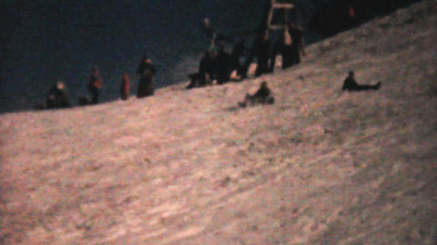 Kids Crashing While Sledding 1961 Vintage 8mm film Stock Video Footage