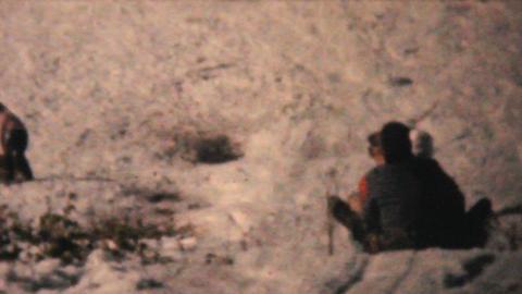 People Tobogganing In Winter 1961 Vintage 8mm film Stock Video Footage