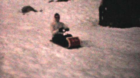Riding A Toboggan In Winter 1961 Vintage 8mm film Stock Video Footage
