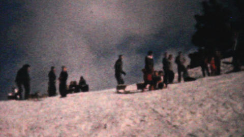 Teenagers Enjoying Sledding In Winter 1961 Vintage Stock Video Footage
