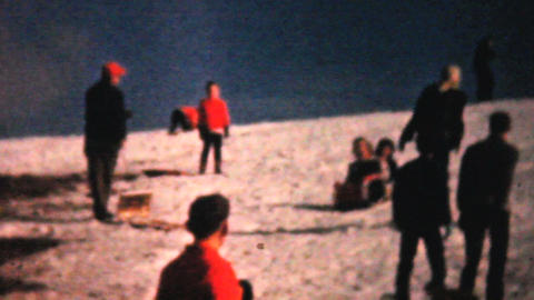Teenagers Enjoying Sledding In Winter 1961 Vintage Footage