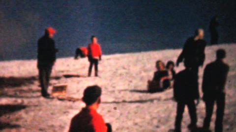 Teenagers Enjoying Sledding In Winter 1961 Vintage Footage