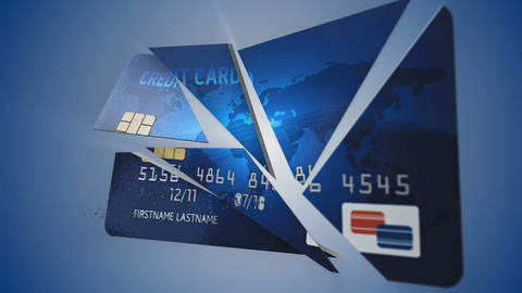Credit Card Explode Stock Video Footage