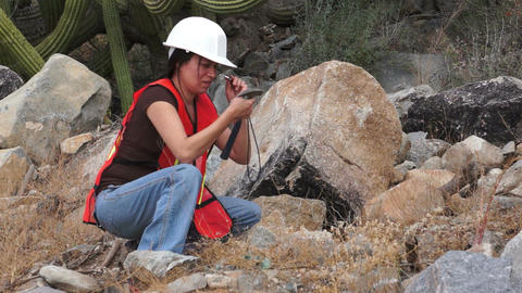 Geologist Woman Loupe Stock Video Footage