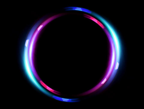 4 K double ring flare pink blue Animation