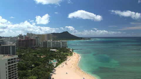 Waikiki Beach & Diamond Head, time lapse Stock Video Footage