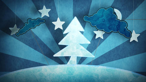 cardboard blue christmas tree loop 5.01 - 15.00 Stock Video Footage