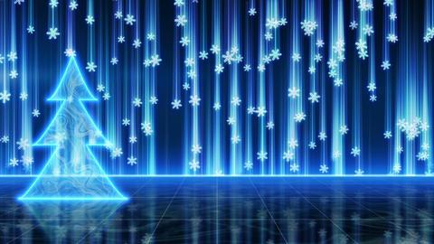 futuristic blue christmas tree and snowfall loop Stock Video Footage