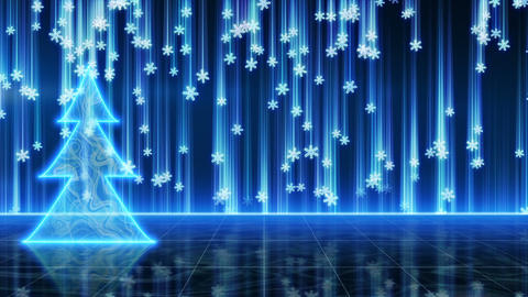 futuristic blue christmas tree and snowfall loop Animation