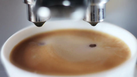 Coffee Machine Pouring Espresso In Cup Extremely C stock footage