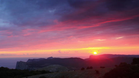 Timelapse sunset in the mountains Merdven-Kayasy Stock Video Footage