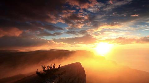 sunrise in the mountains Ai-Petri. Alupka, Crimea Stock Video Footage