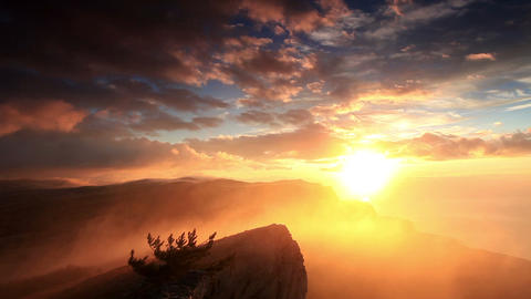 sunrise in the mountains Ai-Petri. Alupka, Crimea Stock Video Footage