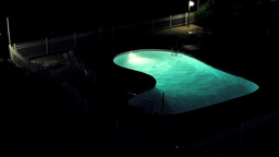 Swimming Pool At Night stock footage