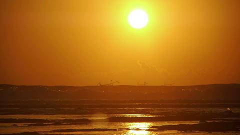 Sunset on beach, Kuta, Bali, Indonesia Footage