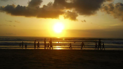 Sunset on beach, Kuta, Bali, Indonesia Footage