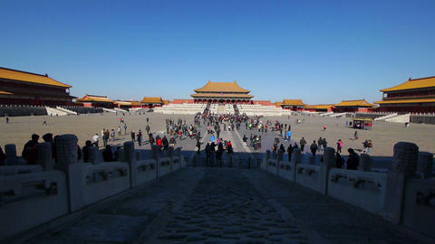 Tourists inside the Forbidden City in Beijing Footage
