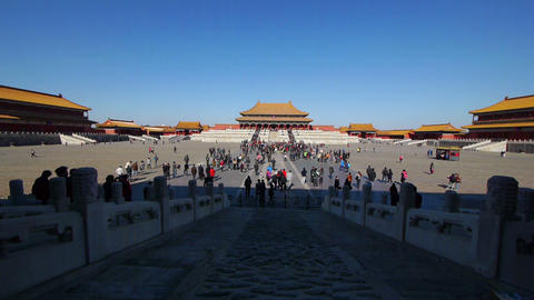 Tourists inside the Forbidden City in Beijing Stock Video Footage