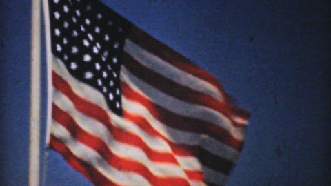 American Flag Flying In The Breeze - 1940 Vintage  Footage