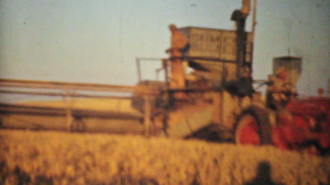 Old Combines Harvesting Fields 1940 Vintage 8mm Footage