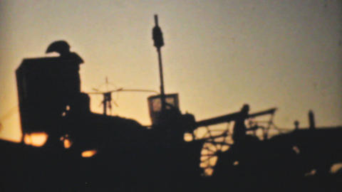 Old Combines Harvesting Fields 1940 Vintage 8mm Stock Video Footage