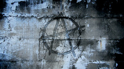 Anarchy symbol in urban wall Animation