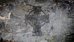 Celtic Cross In A Stone Wall stock footage