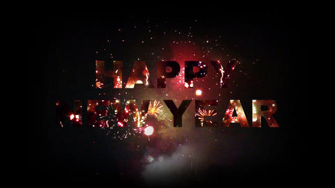 Happy New Year fireworks 03 Stock Video Footage