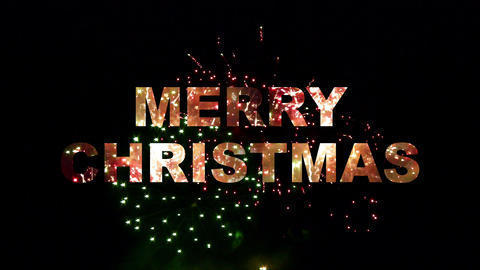 Merry Christmas fireworks 02 Stock Video Footage