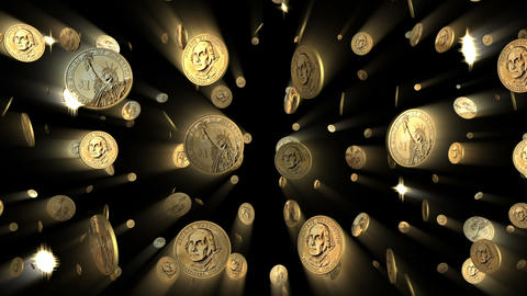 US Dollar Coins Looping Background with Alpha Stock Video Footage