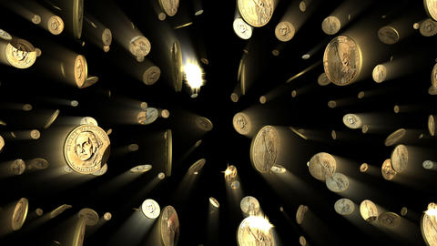 US Dollar Coins Looping Background With Alpha stock footage