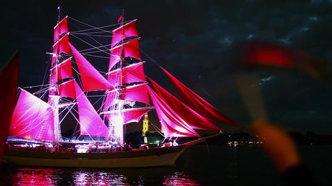 schooner with red sails Stock Video Footage