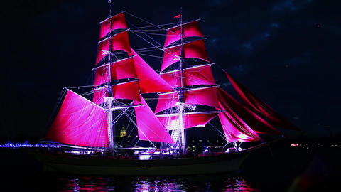 Schooner With Red Sails stock footage