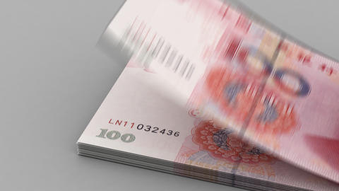 Counting Yuan stock footage