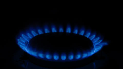 Burning flame on the gas stove Stock Video Footage