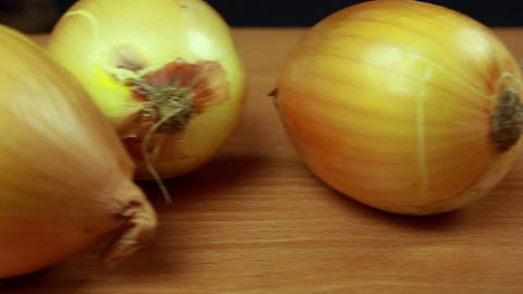 Onions and carrots dolly shot Footage