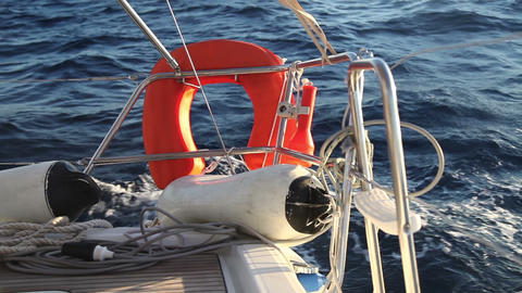Lifebuoy on the yacht racing in the sea Footage