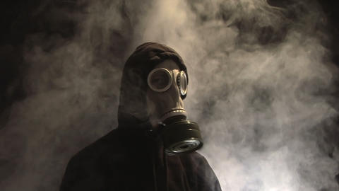 Man In Gas Mask stock footage