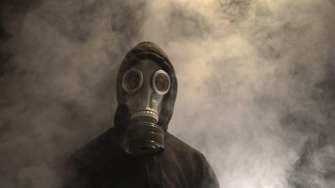 Man in Gas Mask Stock Video Footage