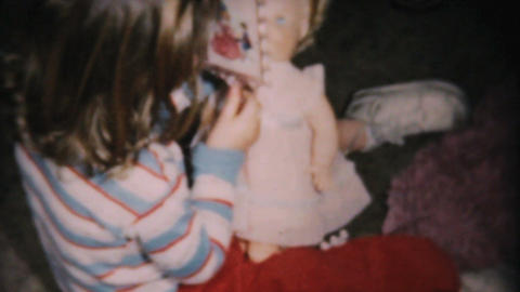 Christmas Doll For Little Girl 1961 Vintage 8mm Stock Video Footage