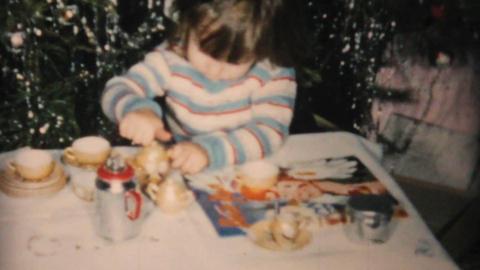 Christmas Tea Set For Little Girl 1961 Vintage 8mm Stock Video Footage