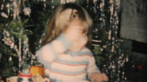 Christmas Tea Set For Little Girl 1961 Vintage 8mm Stock Video Footage