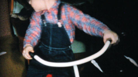 Christmas Tricycle For Little Boy 1961 Vintage 8mm Stock Video Footage