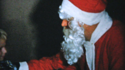 Santa Claus Greeting The Children 1961 Vintage 8mm Stock Video Footage
