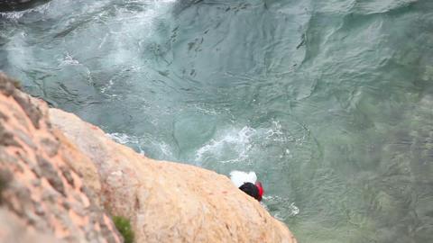 Jumper in Galle fort, Sri Lanla Stock Video Footage