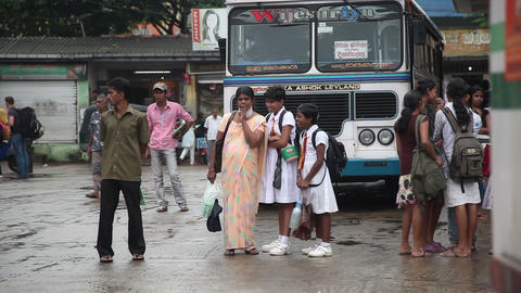Bus station in Tangalle Stock Video Footage